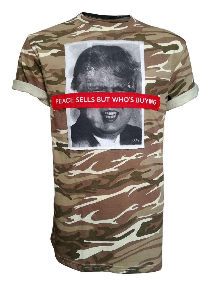 """Peace Sells But Who's Buying""  camo patchwork t-shirt #πλAy #playshirts #tshirt #camo #army #war #ww3 #fashion #victim #patchwork #peace #trump #kim #jong #un #anti #street #art #wear"