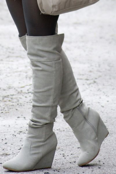 grey wedge boots love