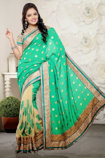#Aqua Green #saree With Blouse