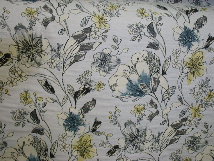 54 Home Decor Fabric Teal Grey Charcoal Grey By PrincessFabrics, $15.99