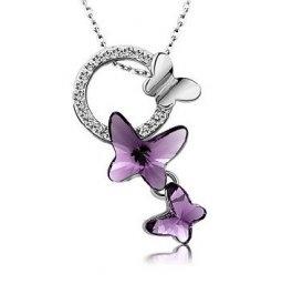 Swarovski Crystal Butterfly Dream Necklace Purple - Swarovski Outlet