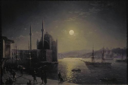 Moonlit Night on the Bosphorus - Ivan Aivazovsky - Completion Date: 1894