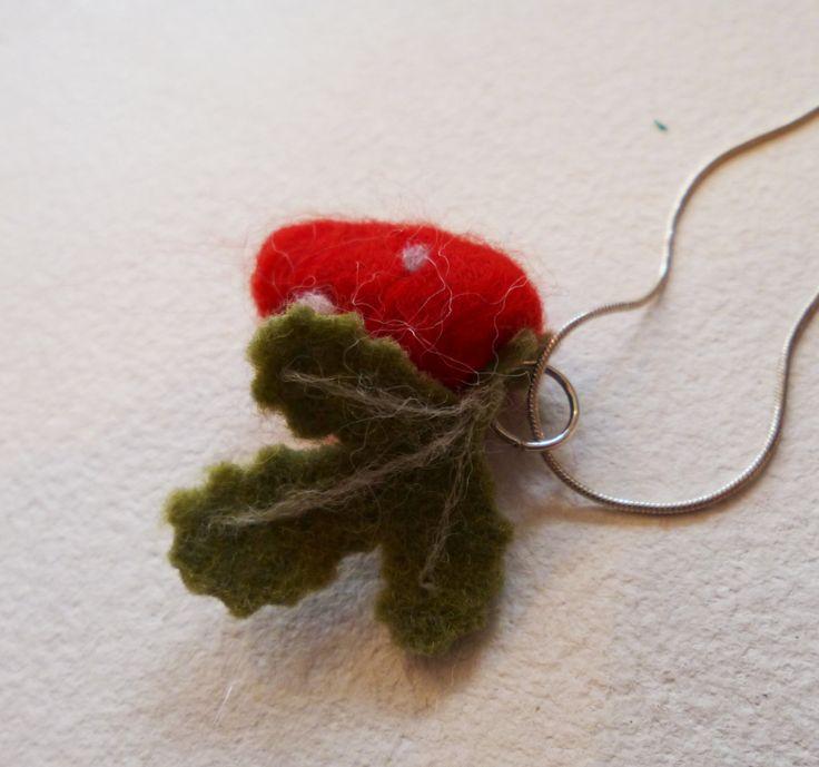 Needle Felt Wild Strawberry Pendant on silver chain by jayandthesnails on Etsy