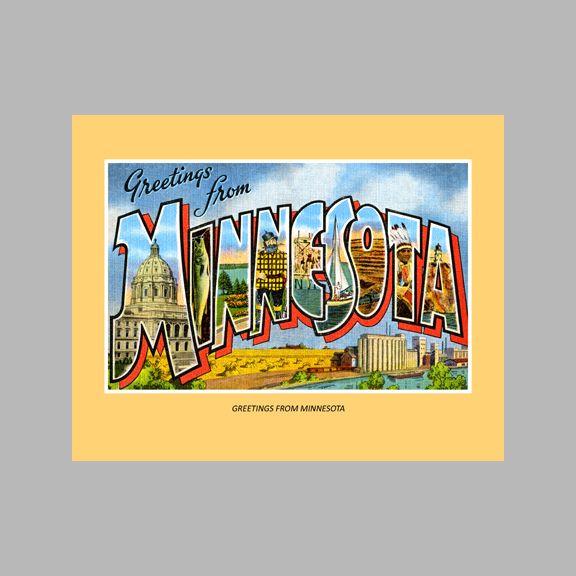 Greetings From Minnesota | Minnesota Vintage Postcard Wall Art ...