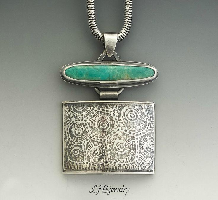 Turquoise Pendant, Turquoise Necklace, Turquoise Jewelry, Metalsmith, Metalwork, Art Jewelry, Artisan Jewelry, Sterling Silver, Turquoise, LjBjewelry