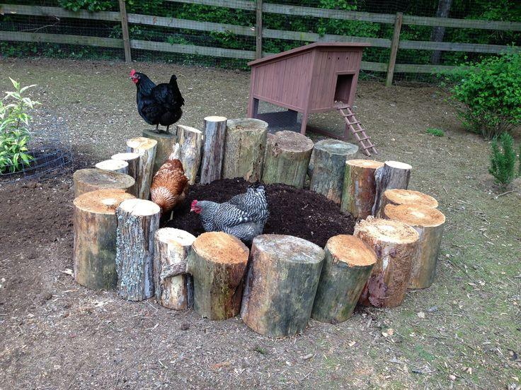 Homemade chicken dust bath using cut logs