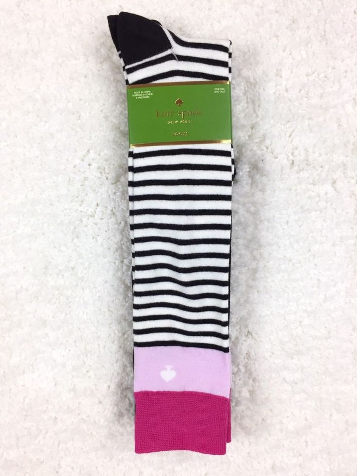 KATE SPADE New York 2 Pair Cabernet Pink Knee Socks Black, Ivory, Pink  $28NWT