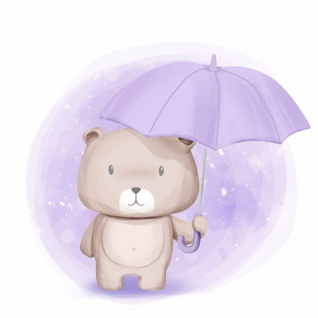 Cute Bear Stand And Held Umbrella Adorable Animal Art Png And Vector With Transparent Background For Free Download Detskie Printy Detskie Postery Akvarelnye Pechati