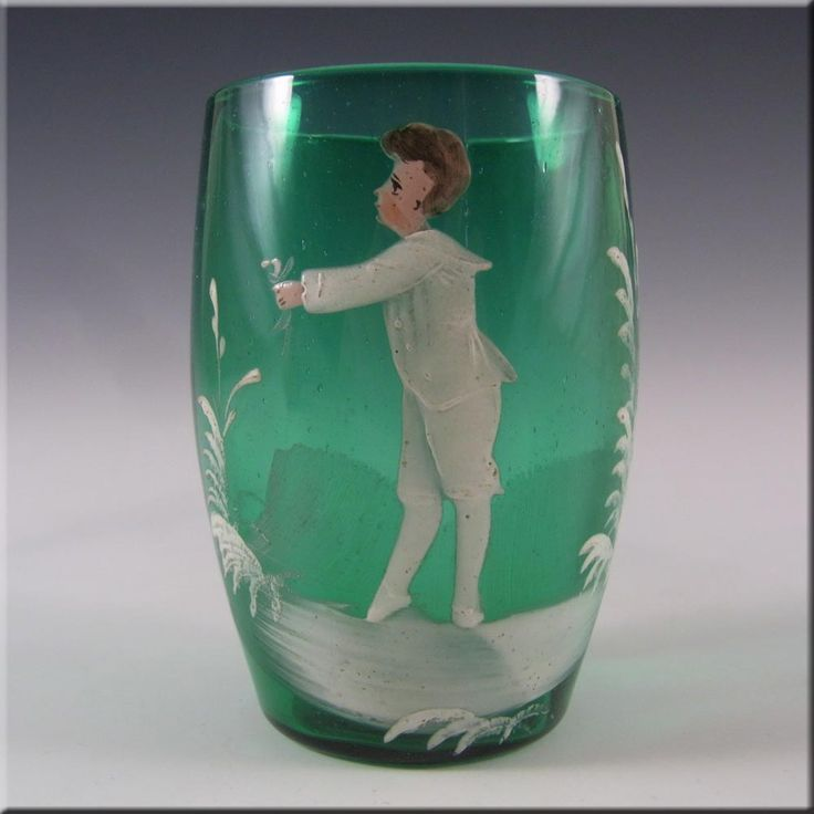 Mary Gregory Bohemian Hand Enamelled Green Glass Tumbler #3 - £30.00