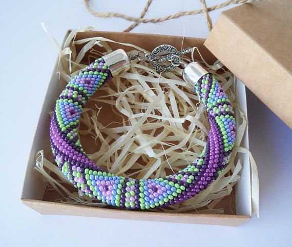 Geometric triangle Teal Purple Green Beadwork bracelet Gift for women Bead Crochet casual cute Bracelet Jewelry mom girlfriend gift, Bangles  Bead bracelet with a geometrical pattern, rhombs or corners. The bright color combination. Handmade. Crocheted on a strong cotton thread. I use Czech glass beads Preciosa.  * * * Pay attention! The bracelet is made to order according to your hand size (girth of the wrist). Term of work 3-5 days. Also take time to deliver the parcel 14-30 days. Thank…