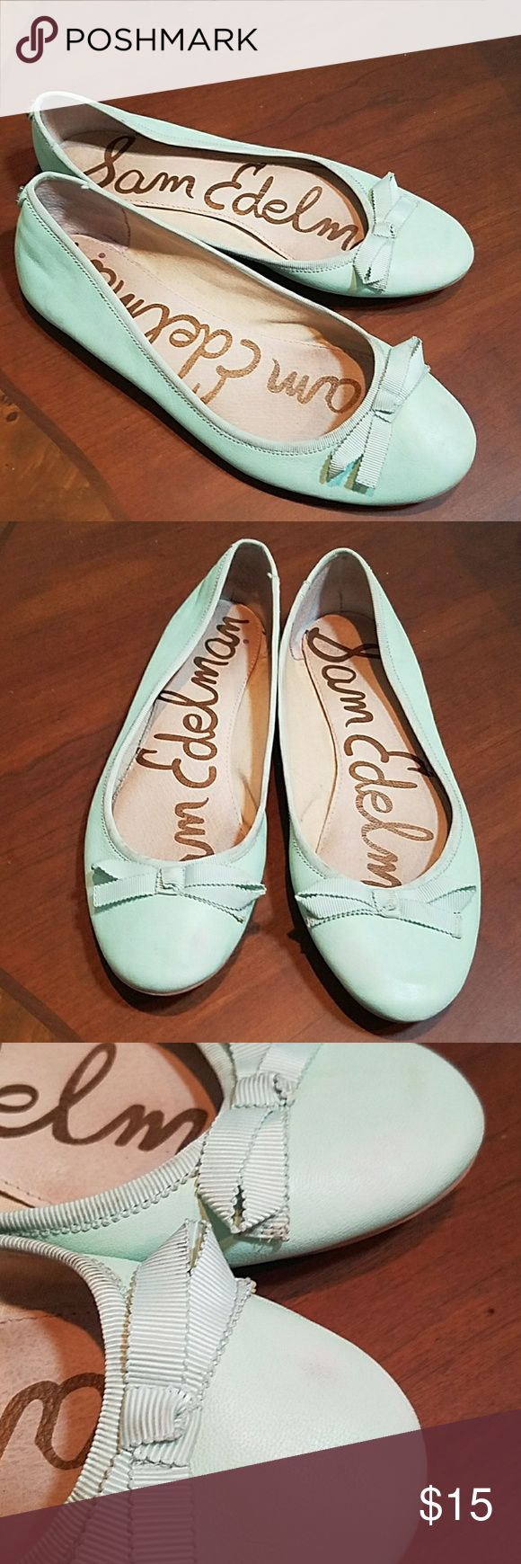 """Sam Edleman Mint Green Felcia Flats 8 Sam Edleman Mint Green Felicia Flats size 8.  No size number but measure 9.75"""", which is 8 on Sam Endleman size guide. Some scuffs but still cute. Sam Edelman Shoes Flats & Loafers"""