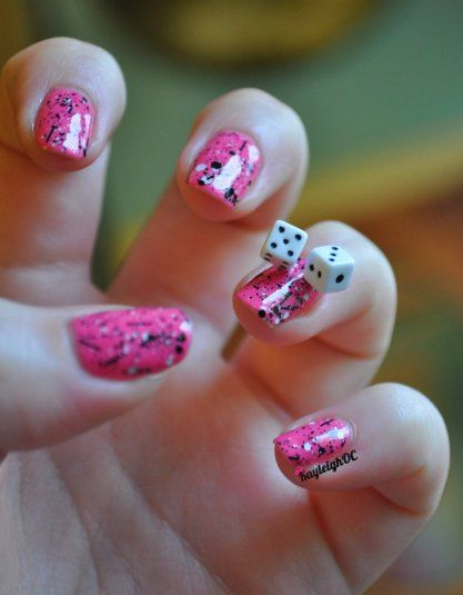 Funky dice nail art. 39 Ultra-geeky nails inside.