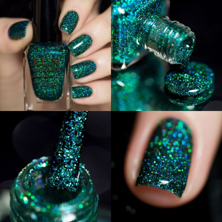 Fun Lacquer:  Secret ...  a teal holographic glitter polish in a clear base. This polish is made with finest quality glitter, resulting in a brighter and shinier finish than regular glitter polish.