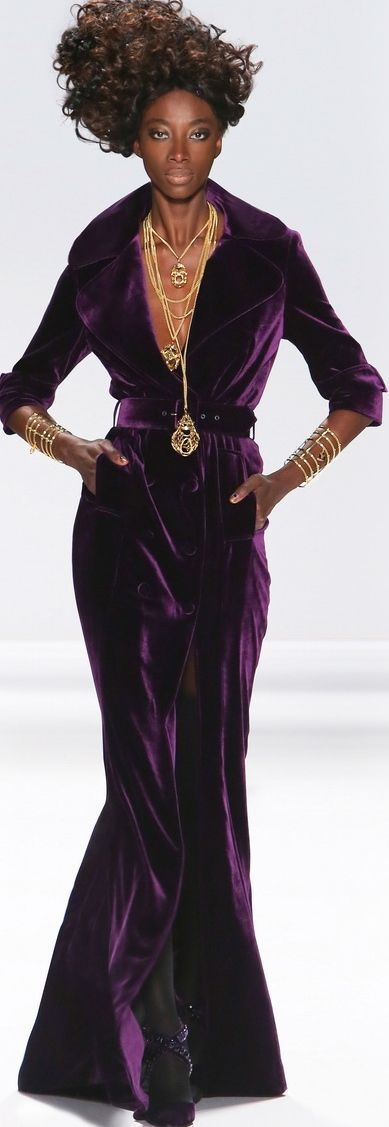 Love the classic cut with the deep purple velvet.  Zang Toi - modeling