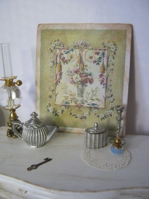 Pistachio Green Aubusson Print for Dollhouse by ALavenderDilly