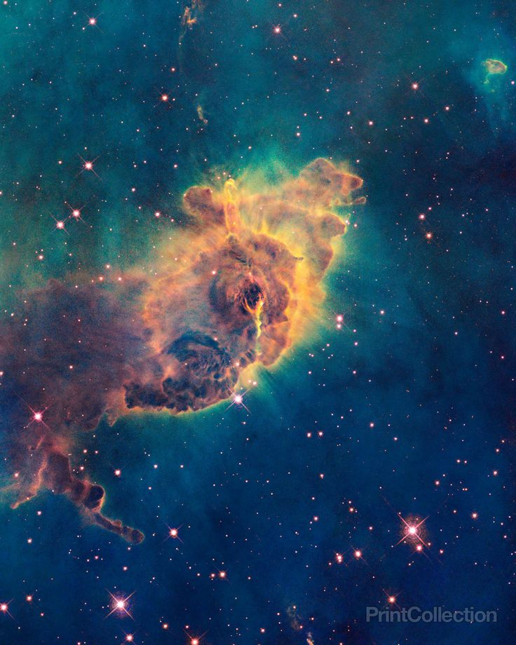 A pillar of gas in the Carina Nebula is bathed in the light of hot, massive stars. Radiation and fast winds from the stars sculpt the pillar and cause new star formation within it.