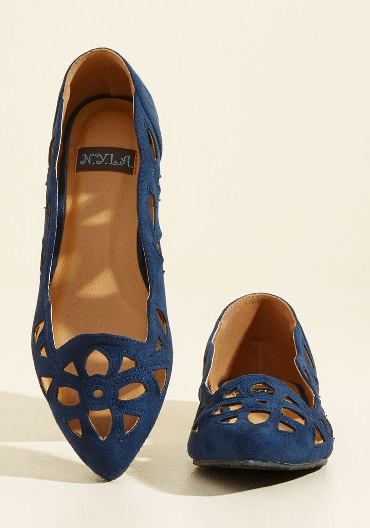 Stained Glass Seminar Flat. A lecture on intricate architecture and timeless design calls for you to flaunt these navy flats! #blue #modcloth