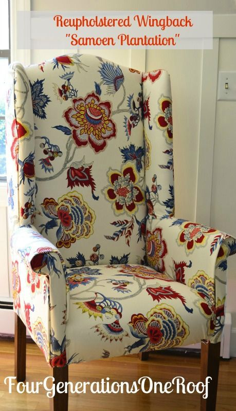Reupholstered wingback chair Samoen planation gem fabric by IMAN--love this fabricDiy Reupholster, Canvas Prints, Chairs Fabrics, Chairs Reupholstered, Cool Ideas, Chairs Tutorials, Wingback Chairs, Diy Projects, Crafts