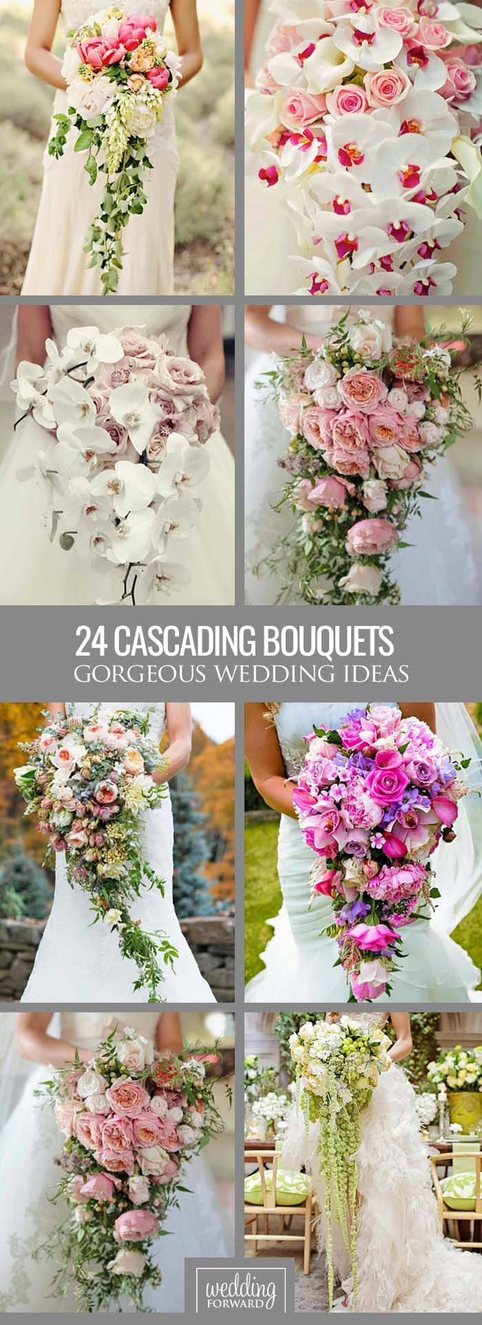 //24 Gorgeous Cascading Wedding Bouquets ❤ Modern cascading (or pageant) bouquets are different from traditional round bouquets and look stunning with roses, orchids, peonies, lilies and dahlias. See more: http://www.weddingforward.com/cascading-wedding-bouquets/ #weddings #bouquet