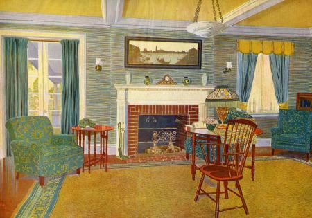 Colonial revival living room illustration discovering - Dutch colonial interior design ideas ...