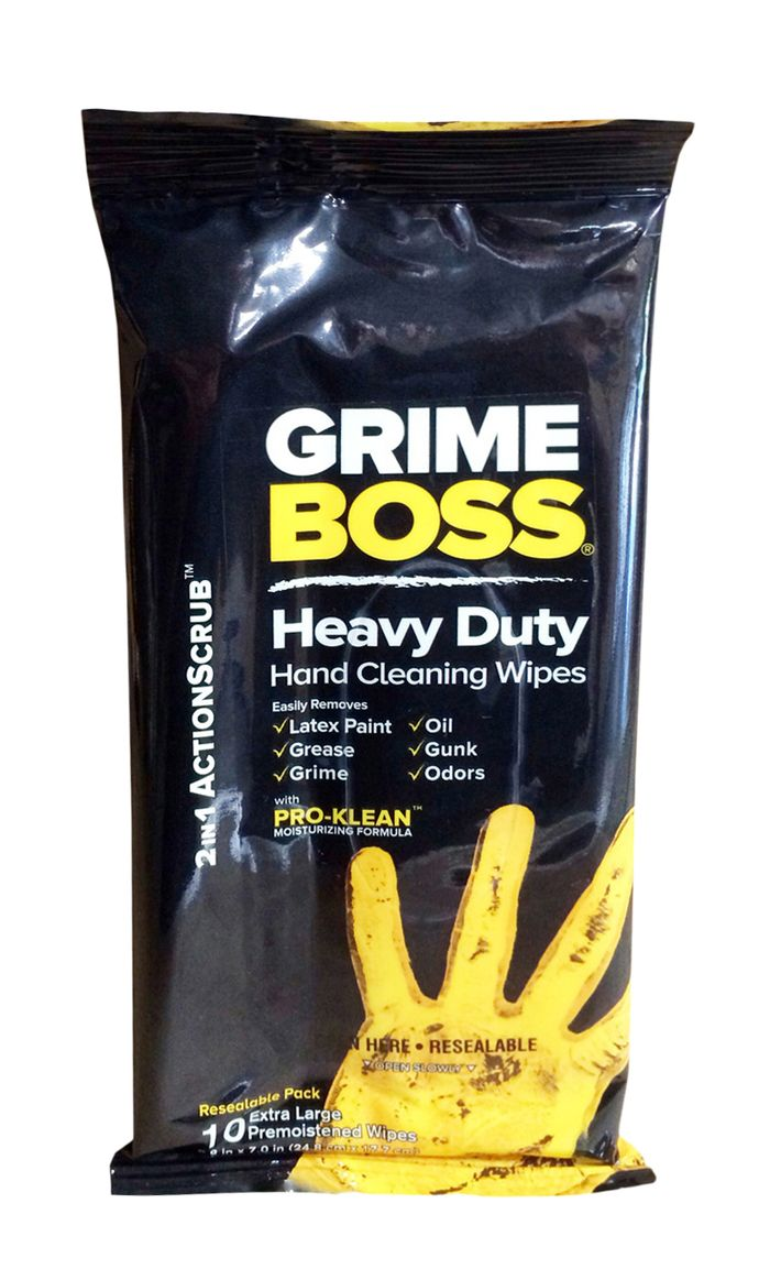 Grime Boss Hand Cleaning Wipes Heavy Duty Pro-Clean Moisturizing Formula 10 XL Wipes #buythecase