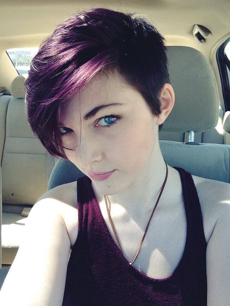 17 Stylish Hair Color Designs: Purple Hair Ideas to Try! | PoPular Haircuts  ETA: A second one I REALLY like, and I LOVE the color. I would totally love something like this style. Wonder what the Hubby will think!?!