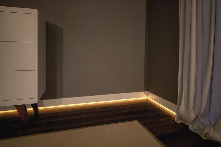 Lichtstreifen in der Fußleiste: Dezente Beleuchtung für das Schlafzimmer! Auch im Badezimmer sind die LED-Stripes in der Fußleiste ein echter Hingucker.