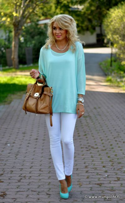 Love this look: White Skinny, Aqua Tops, Dreams Closet, Tiffany Blue, Mint Color, Summer Colors Pants Outfits, White Pants, Teal Outfits, White Jeans