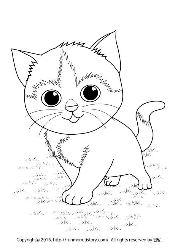 고양이 동물 색칠공부도안 Hayvanlar Ciftlik 고양이 동물 및 예쁜 고양이