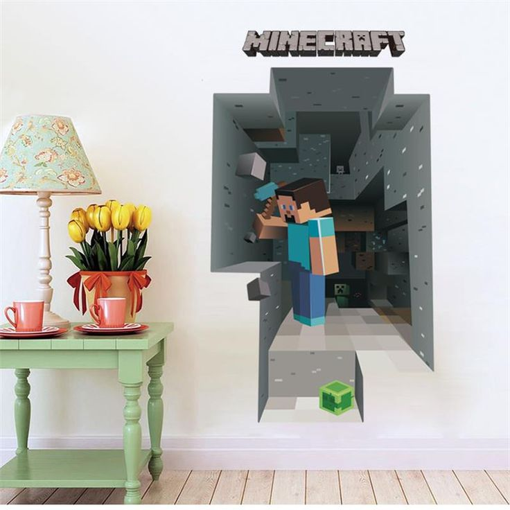 2017 Newest Minecraft Wall Stickers For Kids Rooms 3D Wallpaper Decals Minecraft Steve Home Decor Popular Games Mural Removabled