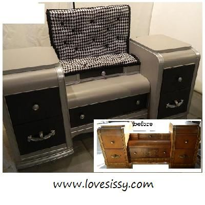 Old Waterfall Vanity Repurposed Into Bench Seat