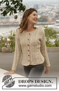 """Knitted DROPS jacket with cables and lace pattern in """"Lima"""". Size: S - XXXL. ~ DROPS Design Free Pattern"""