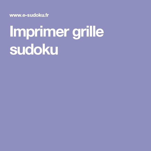 Imprimer grille sudoku
