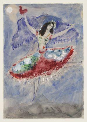 Marc Chagall, Zemphira, costume design for Aleko (Scene I), 1942, Gouache, watercolor, and pencil on paper, Museum of Modern Art, New York #dance