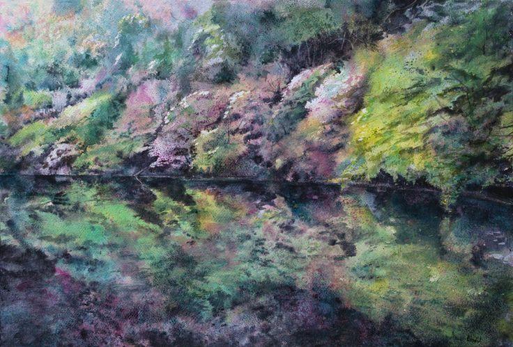 Podróż w czasie - Hanami   Anna Chmiel #tree #watercplor #painting #annachmil #japan #art #abstract #landscape #watercolor #painting #anna_chmiel #malarstwo #krakow #hanami #danielsmith #danielsmithwatercolors