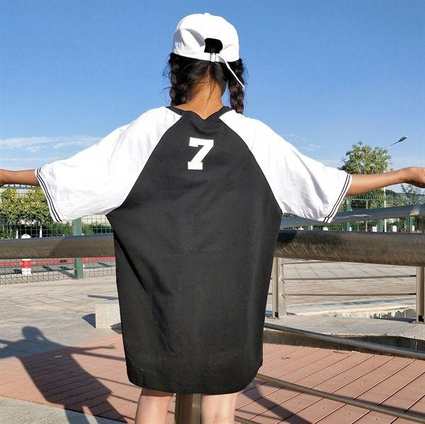 トップス - 原宿系 ファッション レディース ロゴ ナンバー ロング丈 半袖 Tシャツ カラフル ダンス 衣装 カワ 派手 個性 かわいい 奇抜 青文字系 トップス