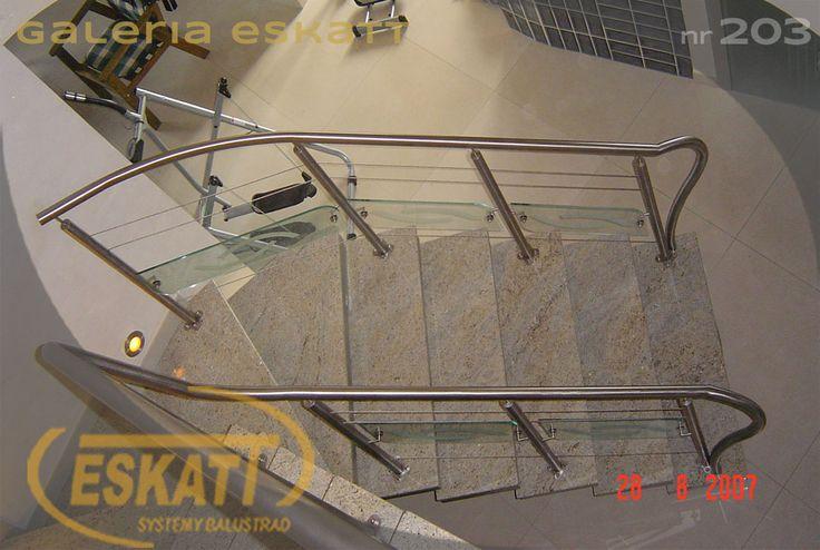 Glass panel balustrade with additional stainless steel horizontal filling #balustrade #eskatt #construction #stairs