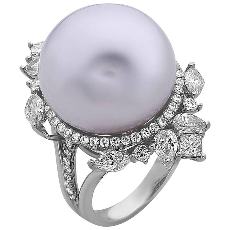 South Sea Pearl Diamond Ring | From a unique collection of vintage cocktail rings at https://www.1stdibs.com/jewelry/rings/cocktail-rings/