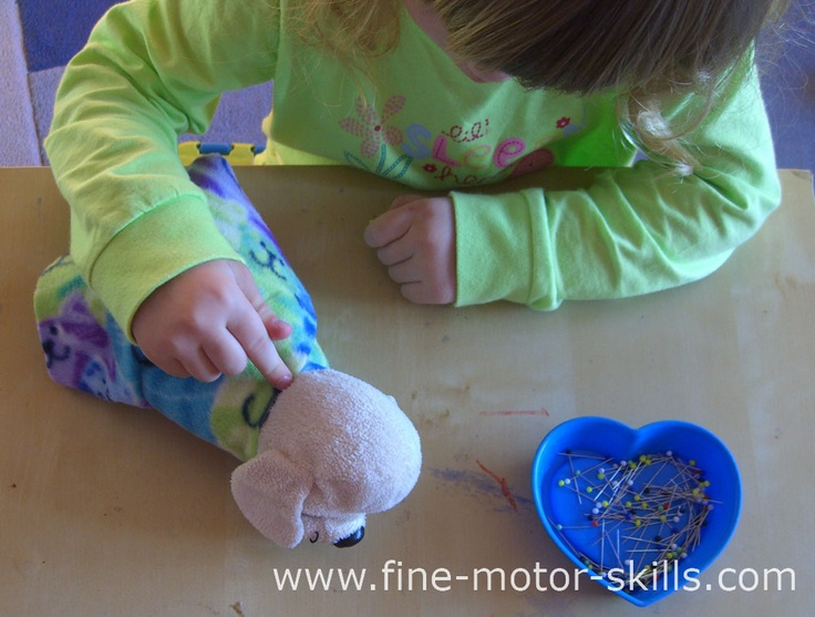 To make a push pin activity repeatable  you have to have several new stripes of fabric prepared and several toy animals.