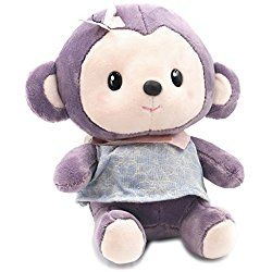 "Monkey Plush Stuffed Animal Doll Cute Bedtime Toy Quality Gift 9"" Purple By USATDD"