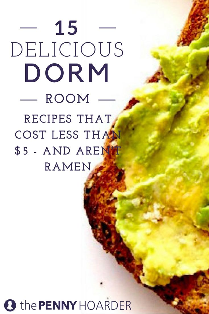 Wondering how to save money in college when you're living in the dorm and don't have a kitchen? These 15 simple recipes cost less than $5. @thepennyhoarder