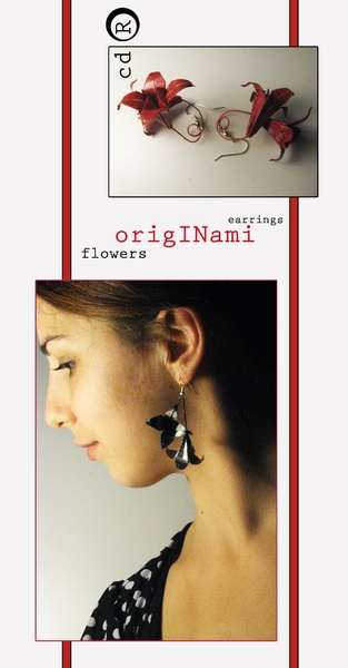 Originami flowers are earrings,they are made of paper in origami technique and laquered to be firm and longlasting
