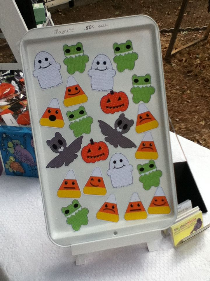 elisabeth nicole craft show display ideas painted cookie sheet and use magnetic hooks to hang items