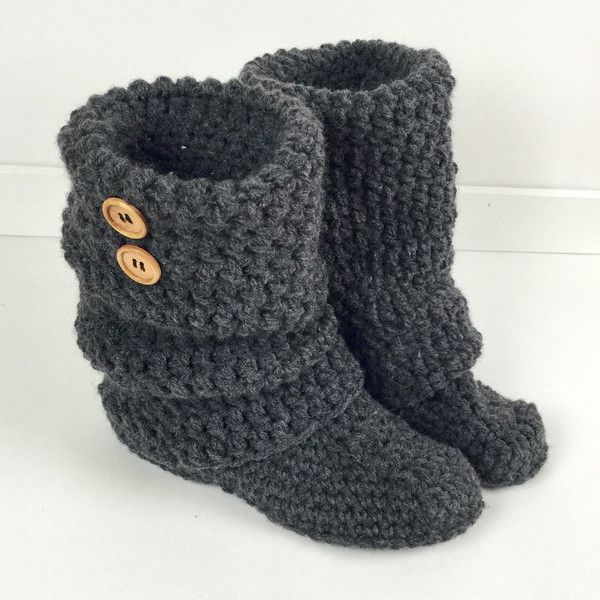 Women's Crochet Dark Gray Slouchy Slipper Boots, Knitted Ladies... ($62) ❤ liked on Polyvore featuring shoes, boots, slippers, dark grey shoes, acrylic shoes, leather sole shoes, crochet shoes and slippers shoes
