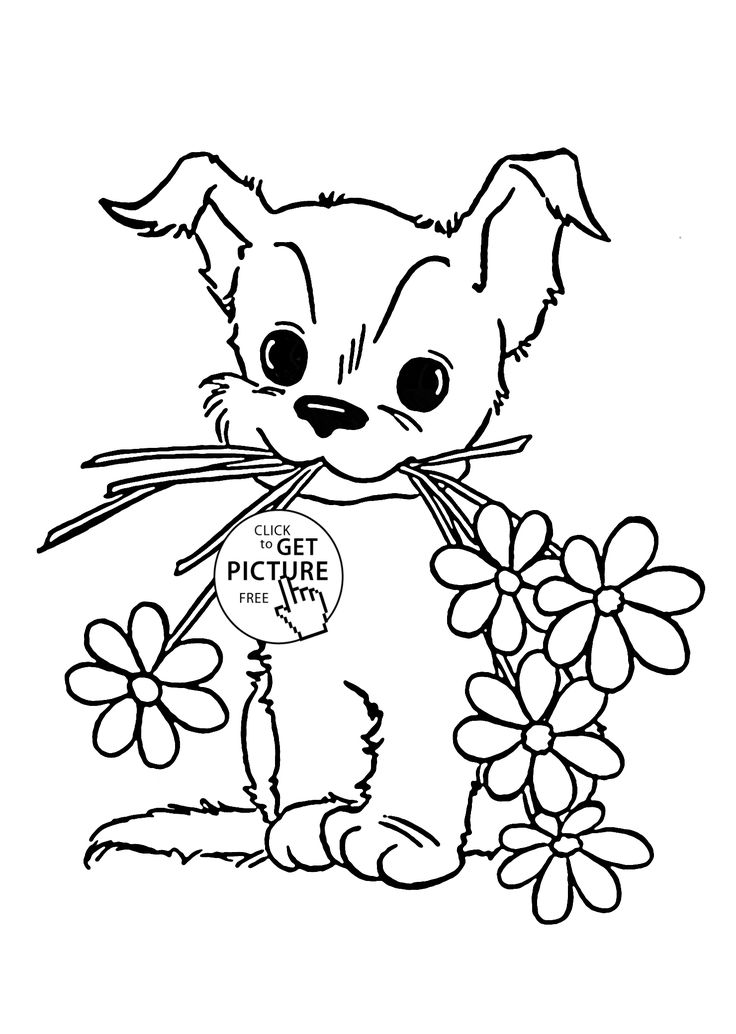 Cute Puppy with Flower coloring page for kids, animal ...