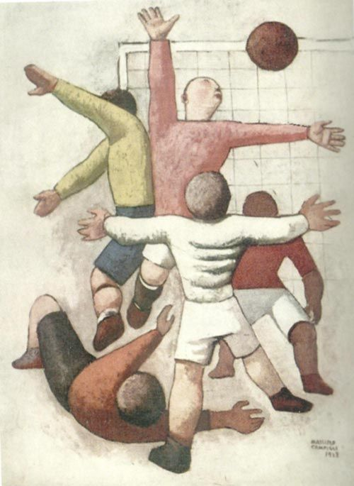 """""""Giocatori di calcio"""" by Massimo Campigli (1928)"""