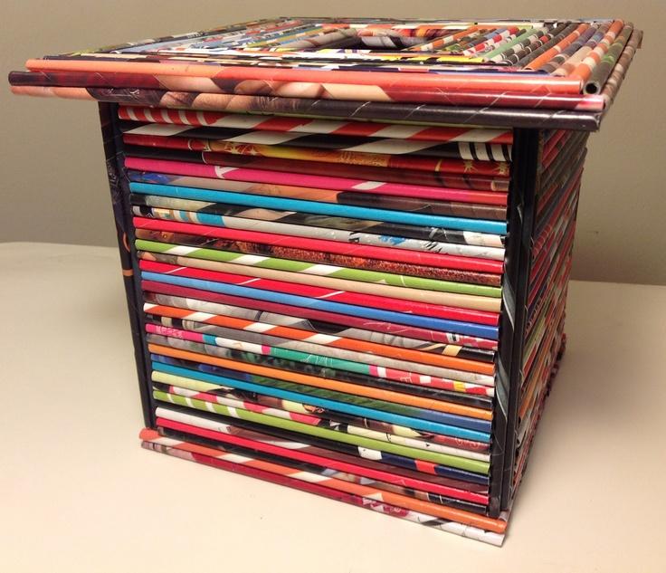 Caja multiuso con tapa, hecha con papel de revistas - Magazine paper crafts