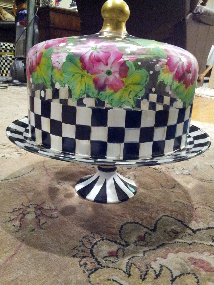 Mackenzie Child Inspired Hand Painted Glass Cake Plate