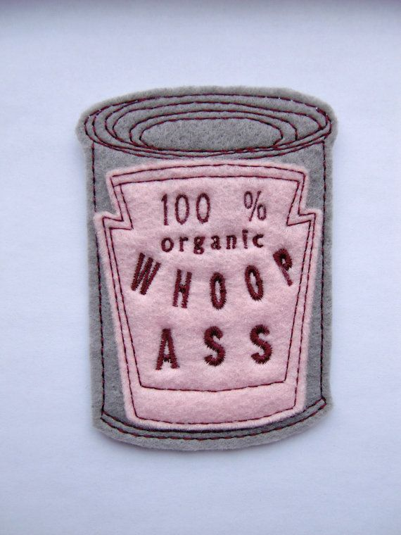 Iron on Patch Can of 100% organic Whoop *ss Applique in Pink on Etsy, $5.00