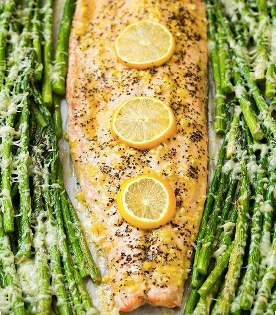 one pan roasted lemon pepper salmon with asparagus.